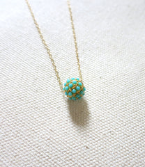 Turquoise Pave Ball Necklace