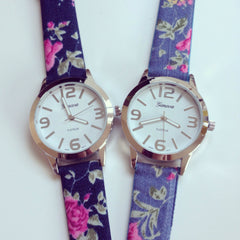 Denim Floral Watch