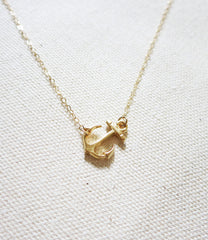 Sideways Anchor Gold Necklace