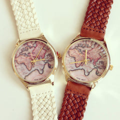World Map Braided Watch