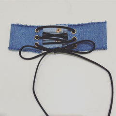 Denim Lace Up Choker