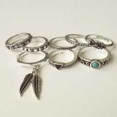 Antique Feather Rings Set