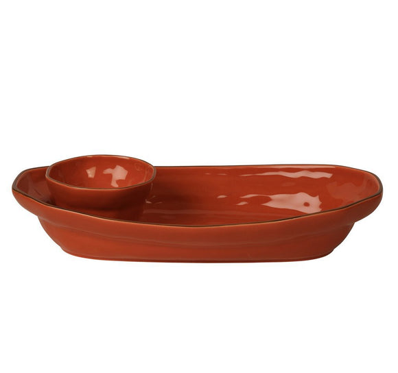 Cantaria Chip and Dip Platter - Persimmon