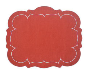 Linho Rectangular Table Place Mats -Brick Red