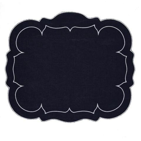 Linho Rectangular Table Place Mats -Navy