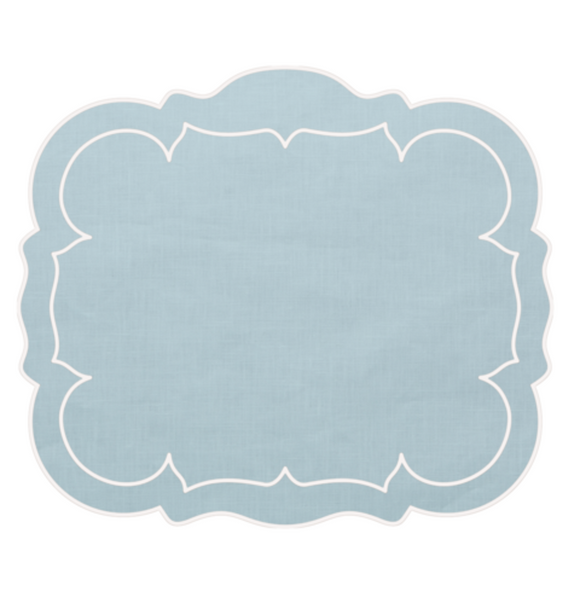 Linho Rectangular Table Place Mats -Ice Blue