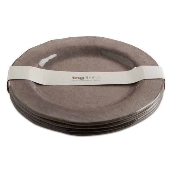 Veranda Melamine Dinner Plt S/4 Warm Gray