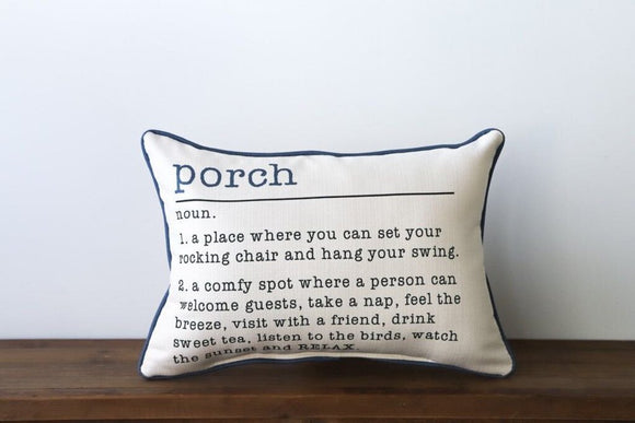 Porch Definition Pillow with Navy Piping