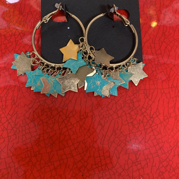 Turquoise and Gold Star Cluster Hoop
