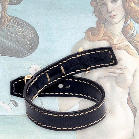 Leather Bracelet | Black | 18K Rose Gold | Diamonds - The True Gen