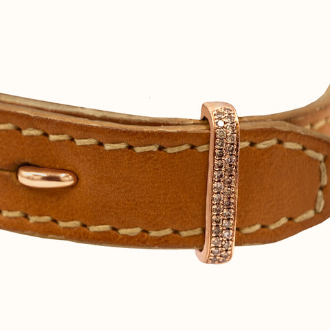 TAN LEATHER | 18K ROSE GOLD | CHAMPAGNE DIAMONDS - The True Gen