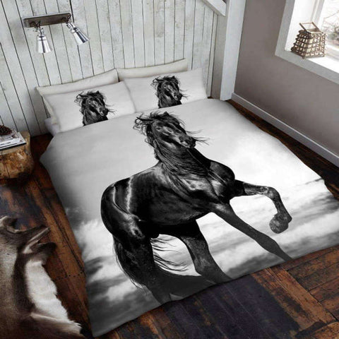 Black Horse King Duvet Cover Set