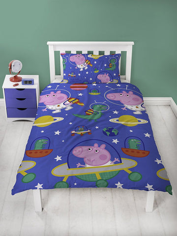 Peppa Pig George Pig Planets Single Duvet Cover Set Polyester Front