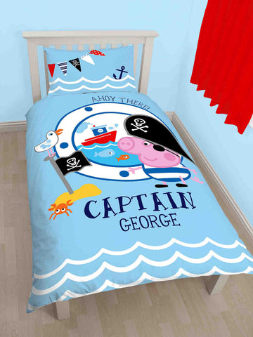 Peppa Pig George Pirate Single Duvet Cover Set Polycotton Front