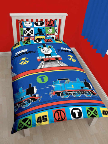 Thomas The Tank Engine Team Single Duvet Cover Set Polyester Front