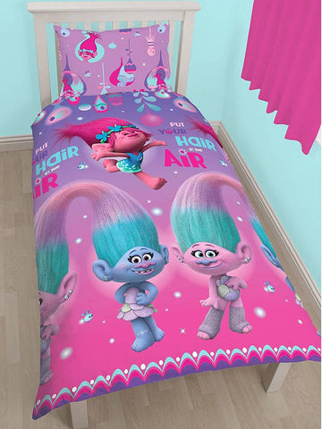 Trolls Glow Single Duvet Cover Set Polyester Front