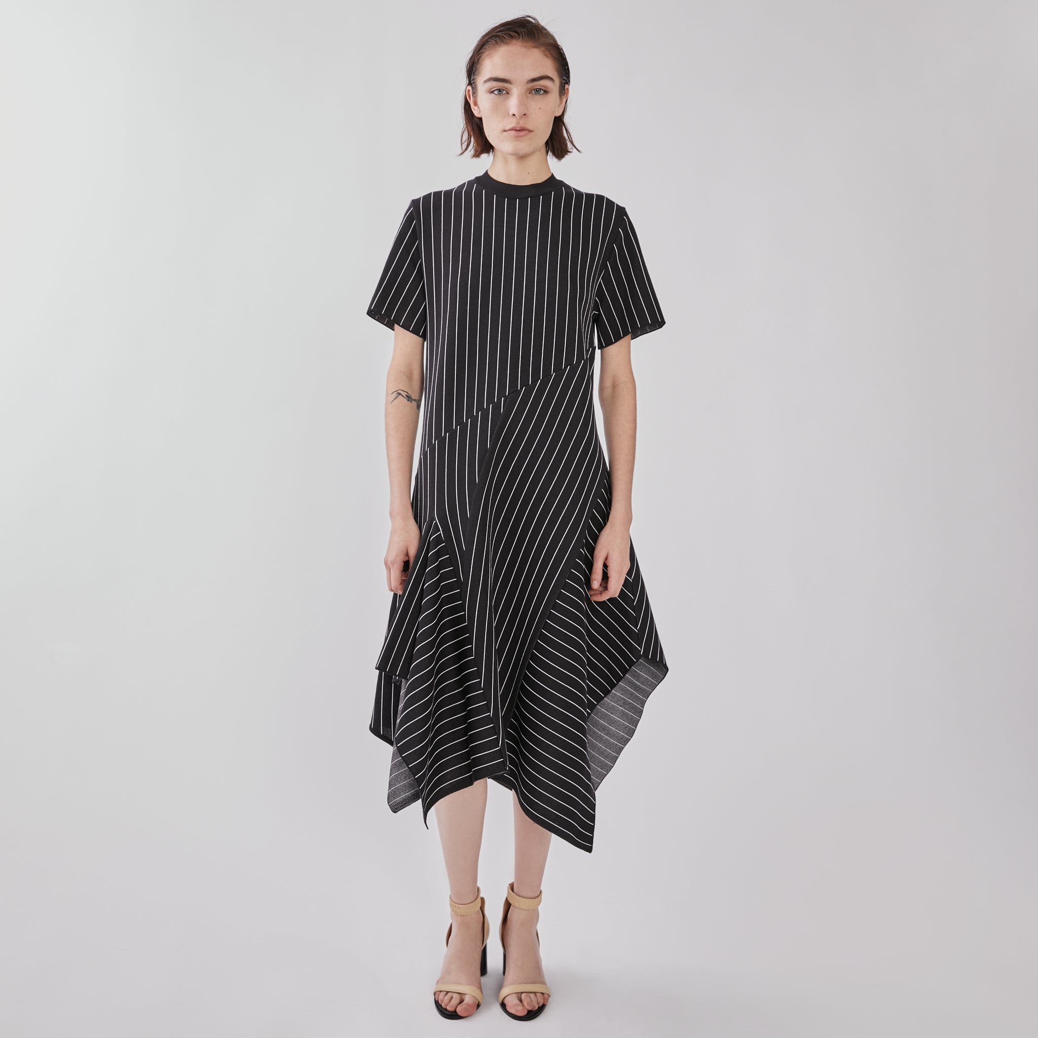 Alana asymmetry panel knit dress BKWH
