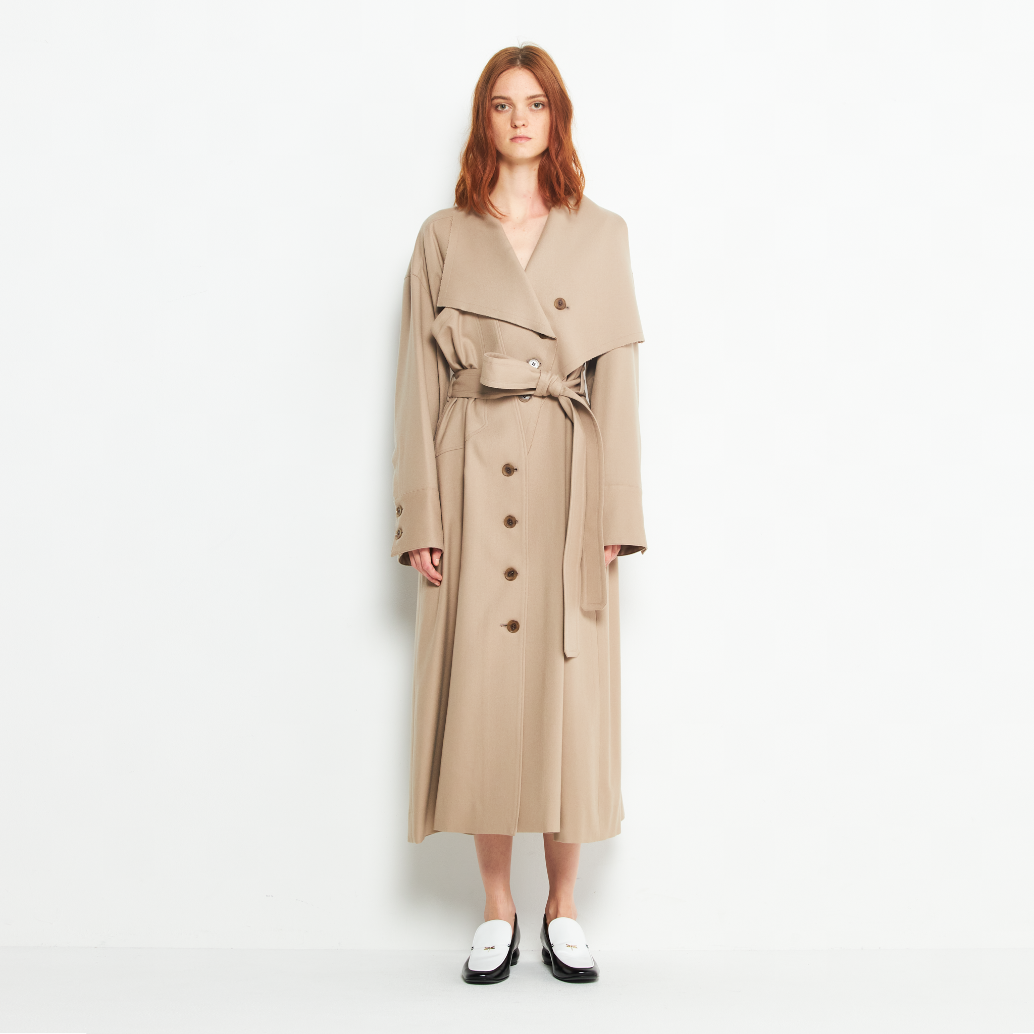 Asymmetry lapel wool gown BE