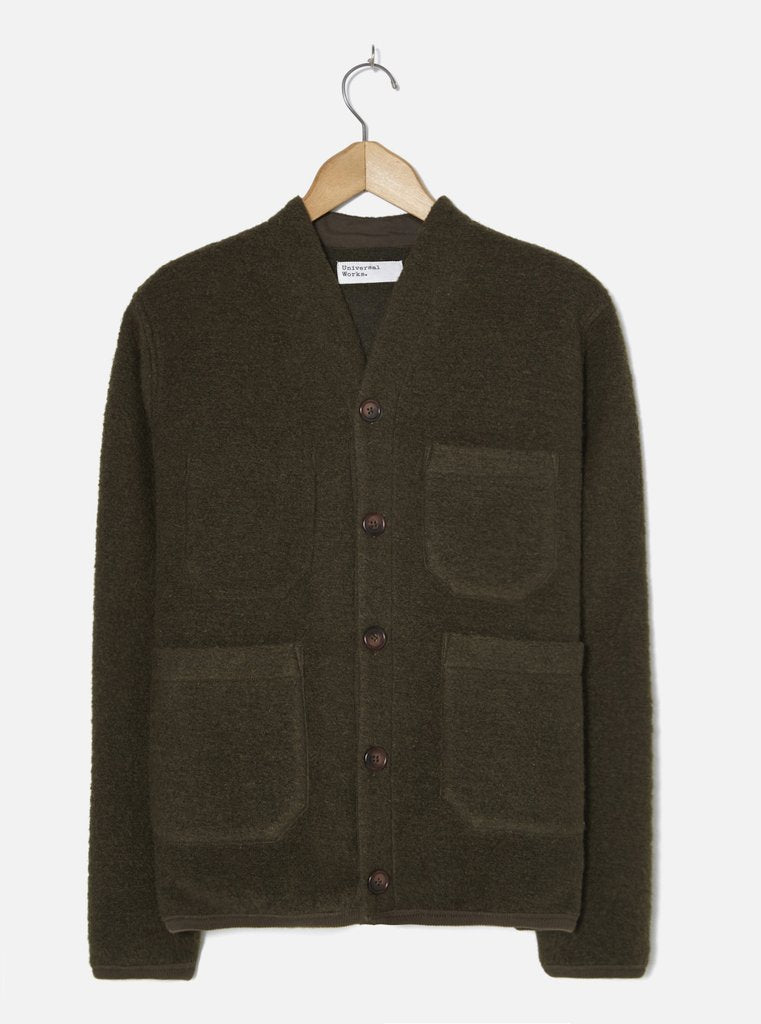 Olive Wool Fleece Cardigan