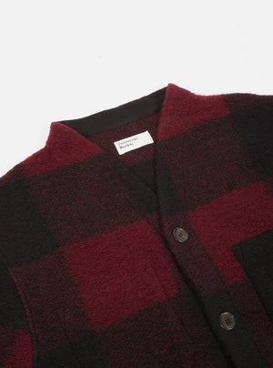 Red Check Wool Fleece Cardigan