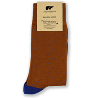 Brown with Blue dots Bamboo socks