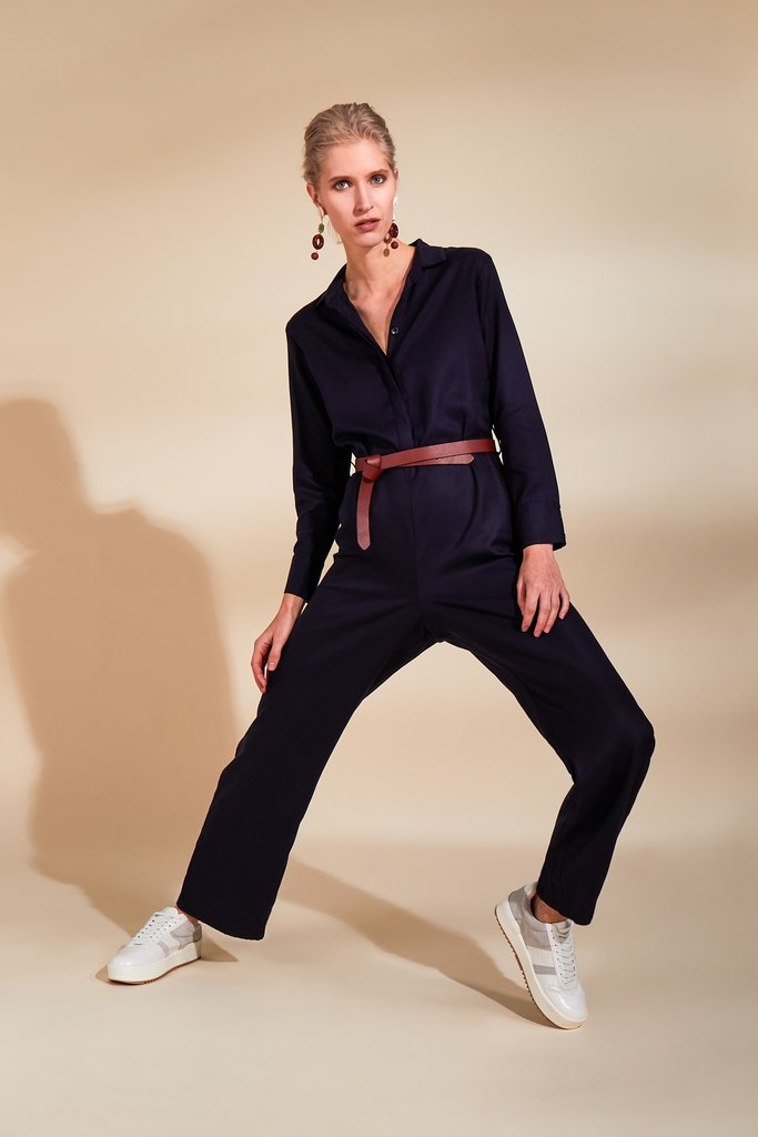 Communicate Navy Jumpsuit
