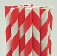 Paper straw red-white 8* 255mm