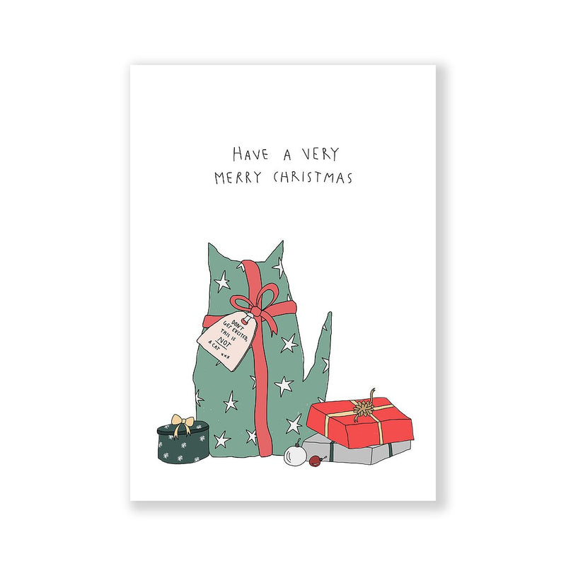 This is not a cat Christmas greeting card A6