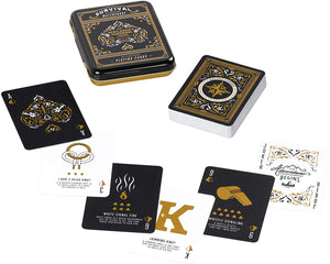Jeux de cartes de survie -playing cards set with durable metal tin
