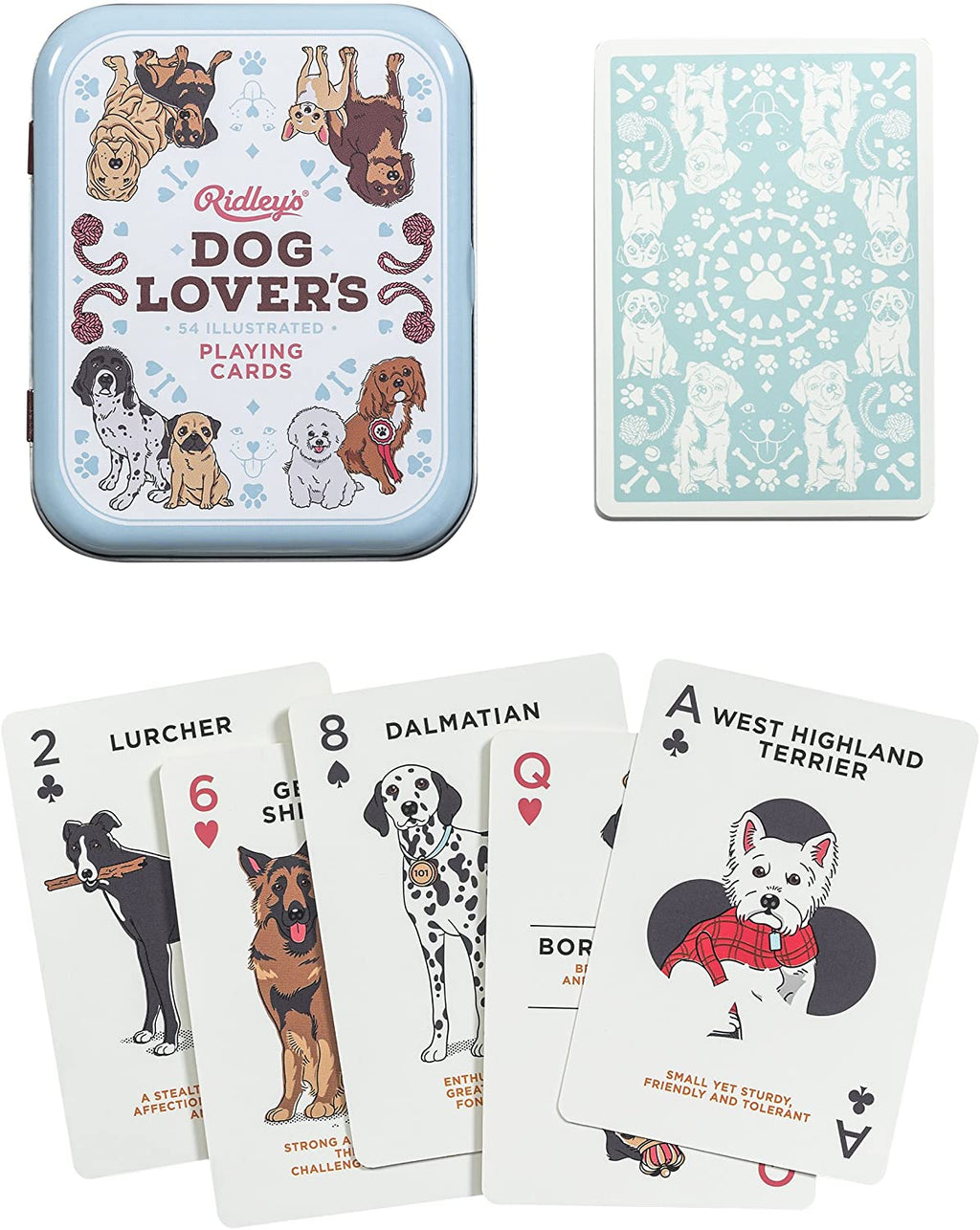 Dog Lover's Playing Cards in a tin