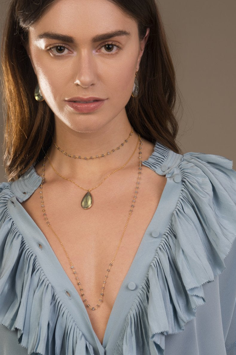 Luna Long Gold Chain Necklace with Labradorite Gemstones