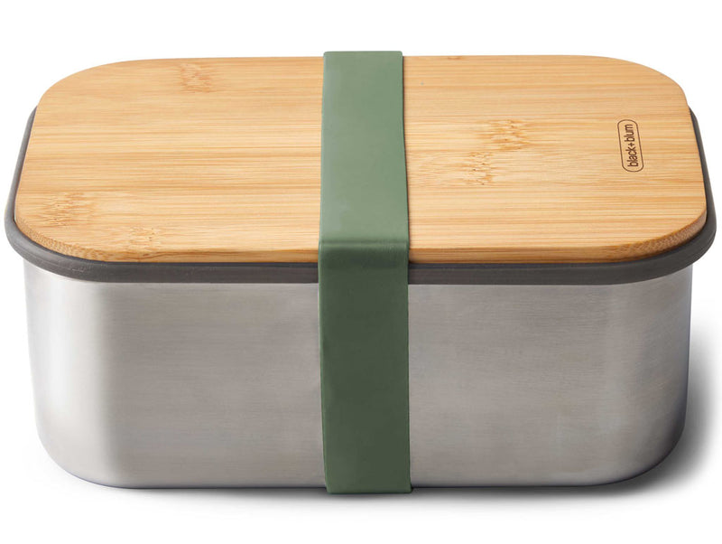 Stainless Steel Sandwich Box with Bamboo Lid Orange 1,25l - 22x15xH5,2cm