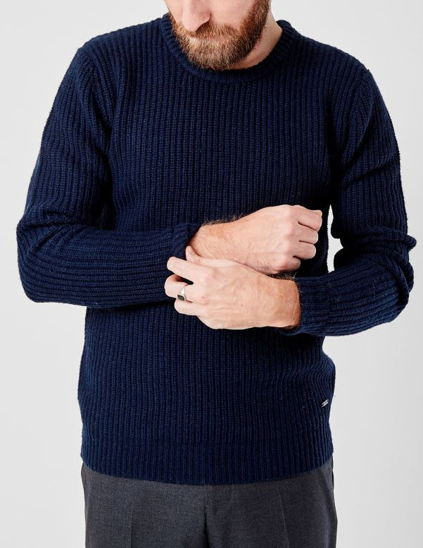 Carsten Dark Navy Ribbed Knit