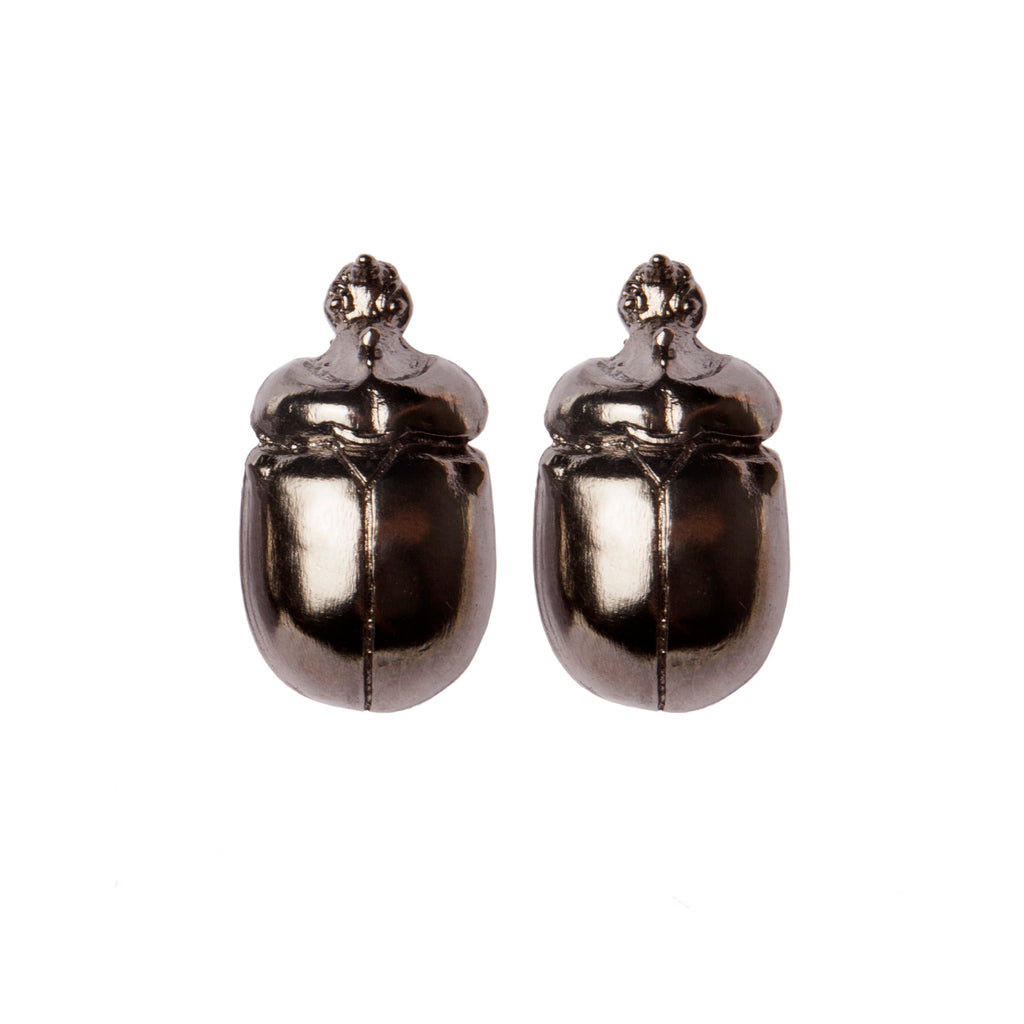 Dark Scarab Earrings
