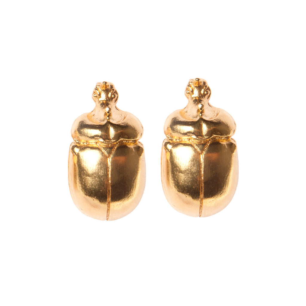 Gold Scarab Earrings