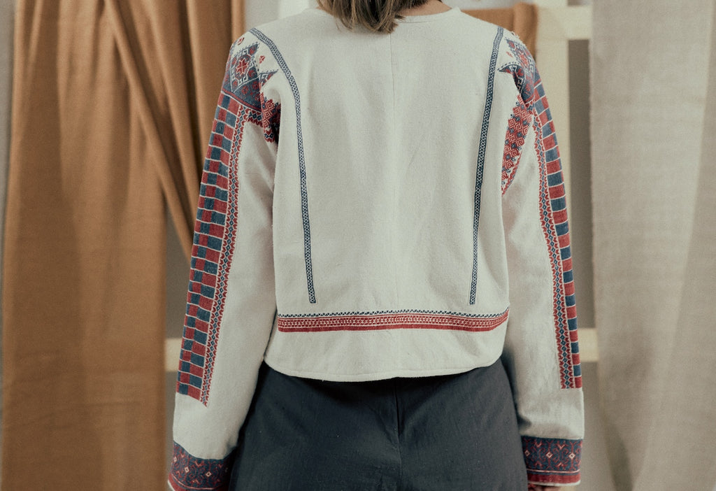 Recovered embroidery jacket