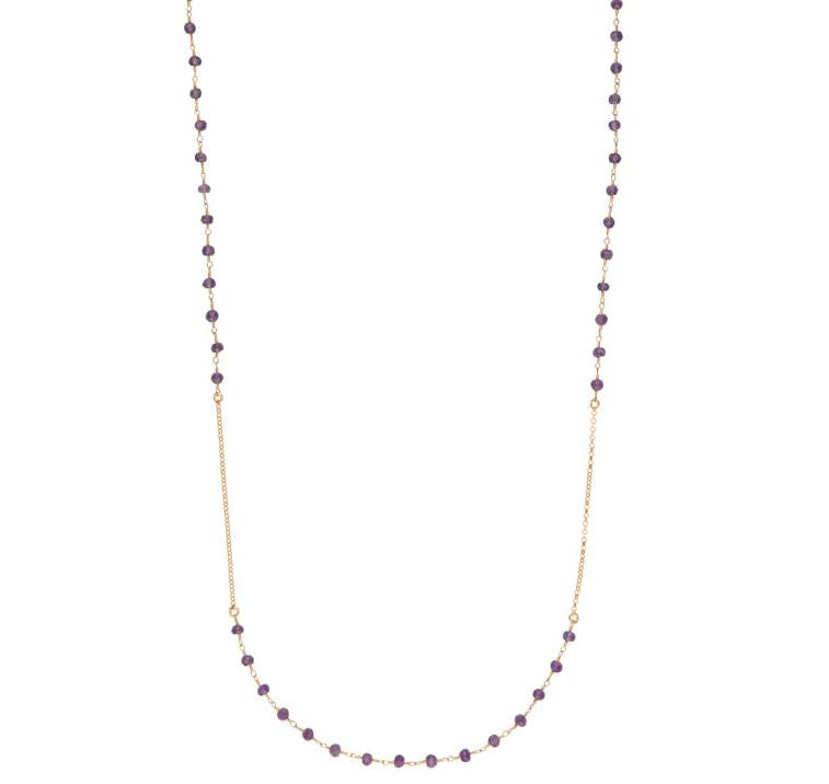 Luna Long Gold Chain Necklace with Amethyst Gemstones