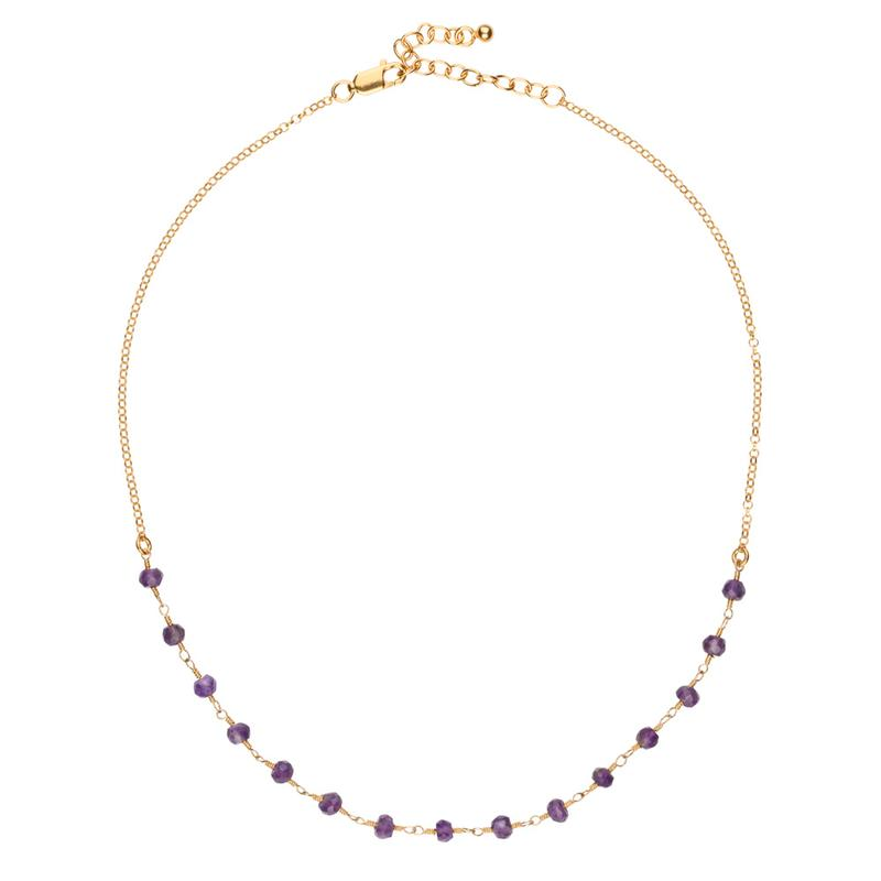 Luna Short Gold Chain Necklace with Amethyst Gemstones
