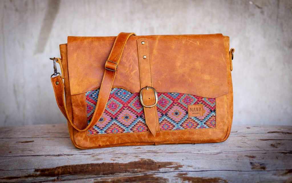 "Laptop Bag ""Xhosa"" Diesel Toffee Leather"