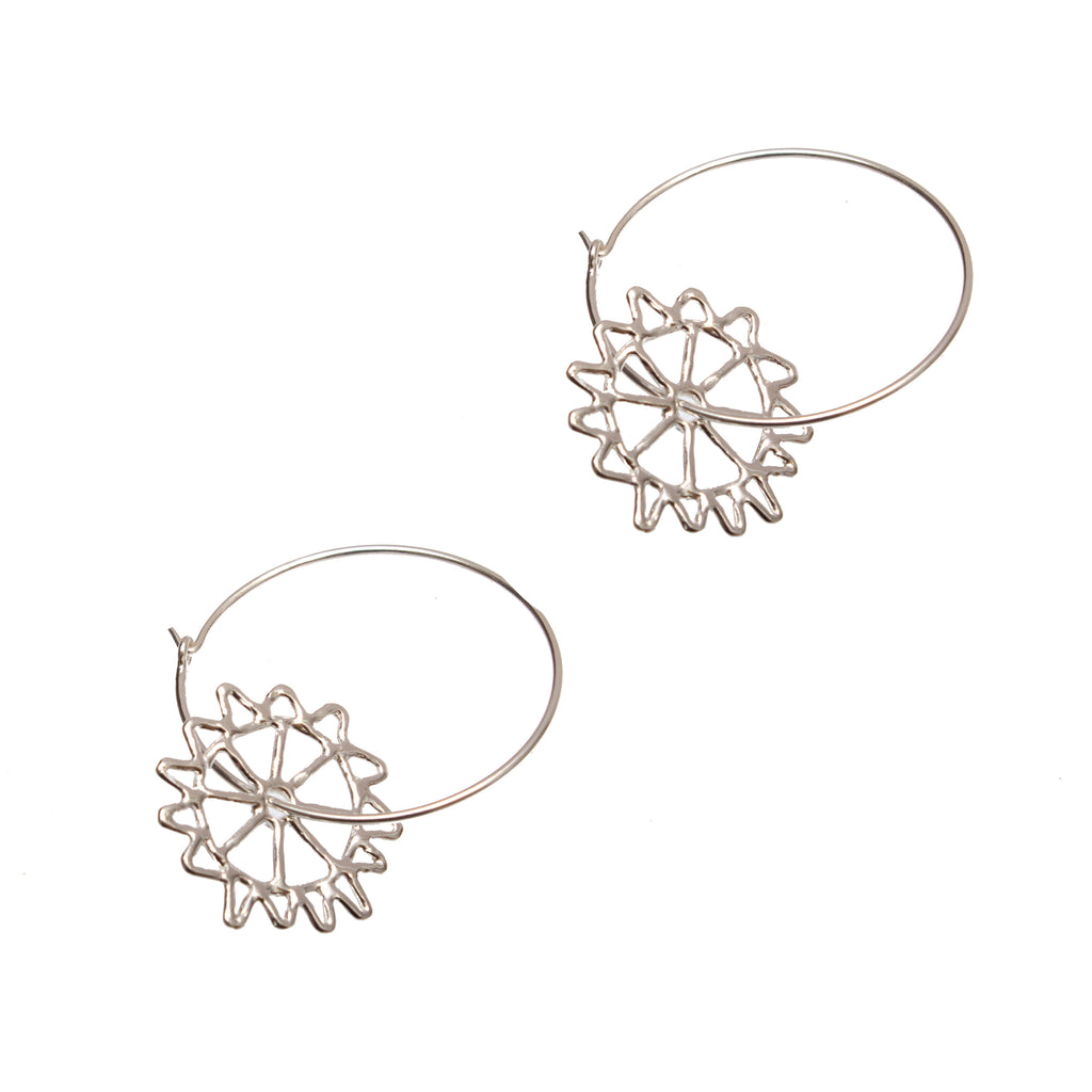 Silver Monkey Puzzle Hoop Earrings