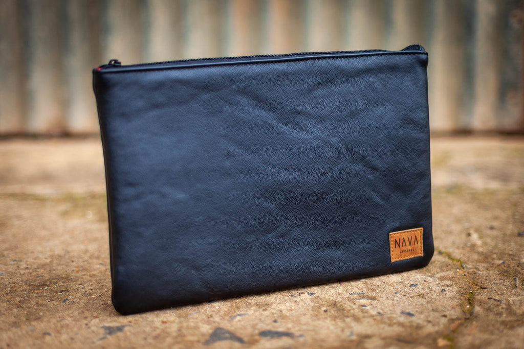 Diesel Black Leather Utility Case - iPad / Clutch / Accessories