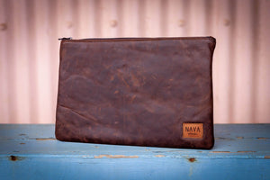 Diesel Brown Leather Utility Case - iPad / Clutch / Accessories