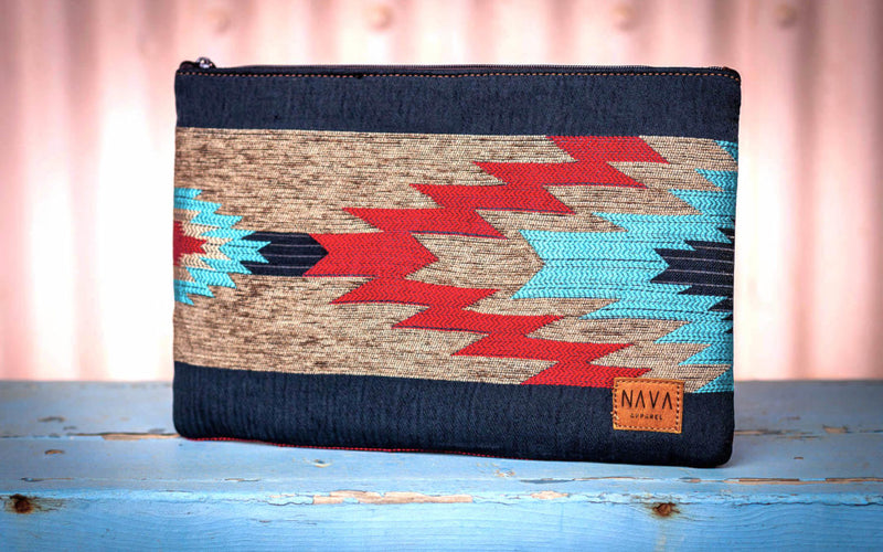 Blue/Red Ndebele Pattern Utility Case - iPad / Clutch / Accessories