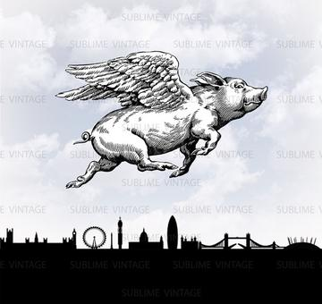 PIGS CAN FLY GREETING CARD