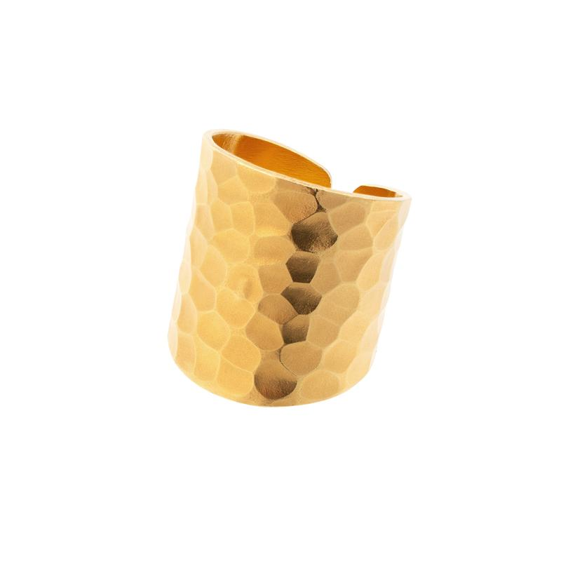 Nudo Gold Long Hammered Ring