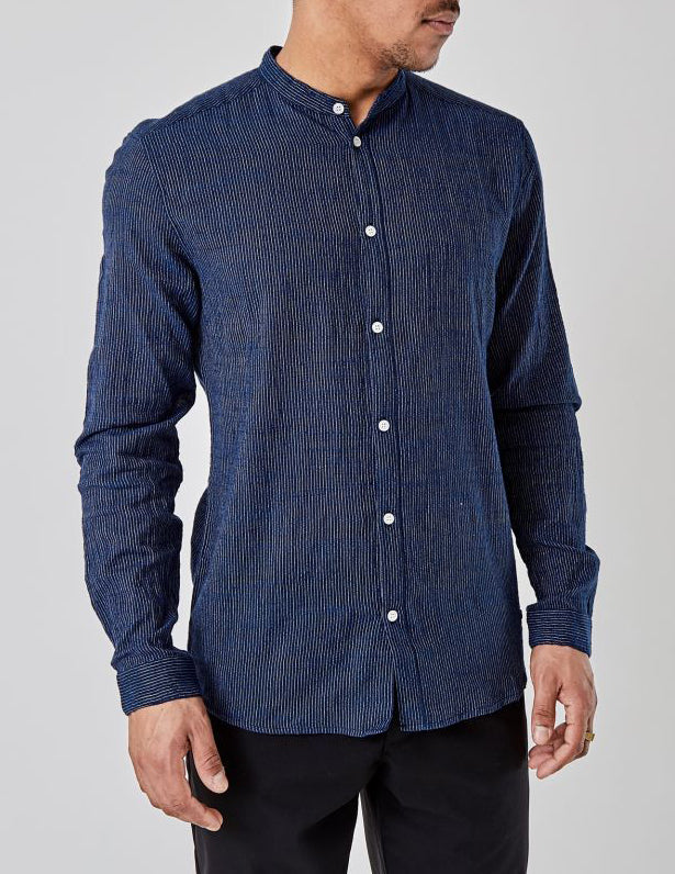 Reed Mandarin Shirt Dark Navy