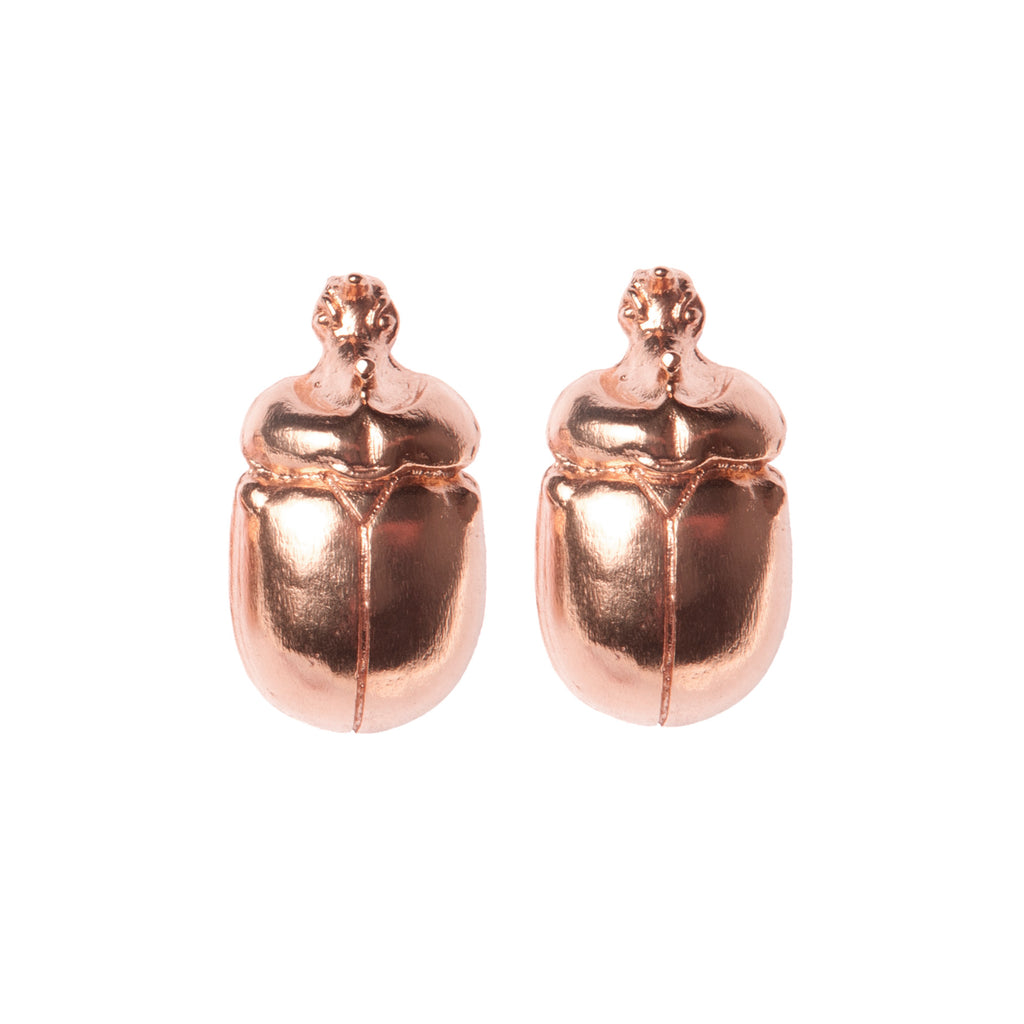 Rose Gold Scarab Earrings