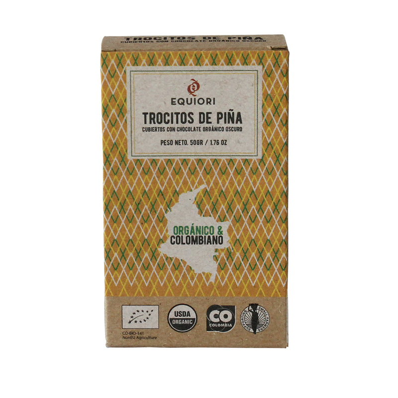 Chocolate Pineapple chunks in organic chocolate (65%), 50g