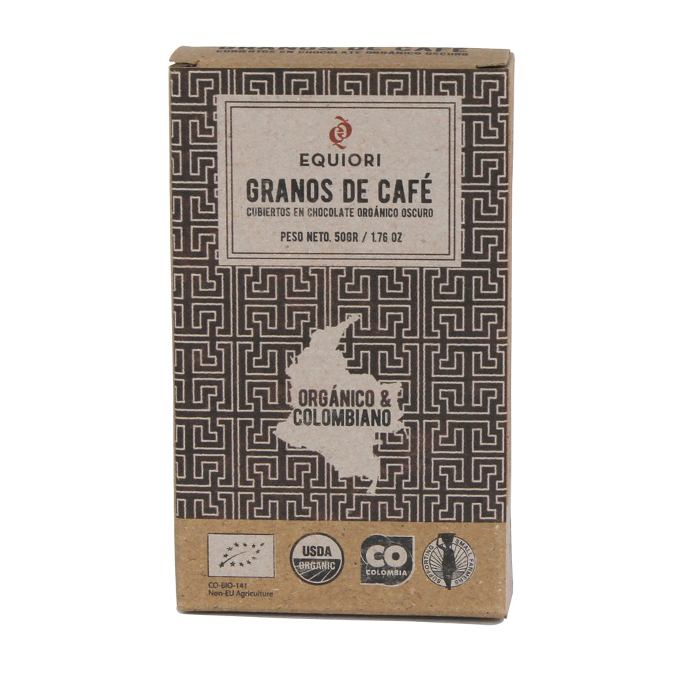 Chocolate coffee beans coated with organic chocolate (65%), 50g Equiori