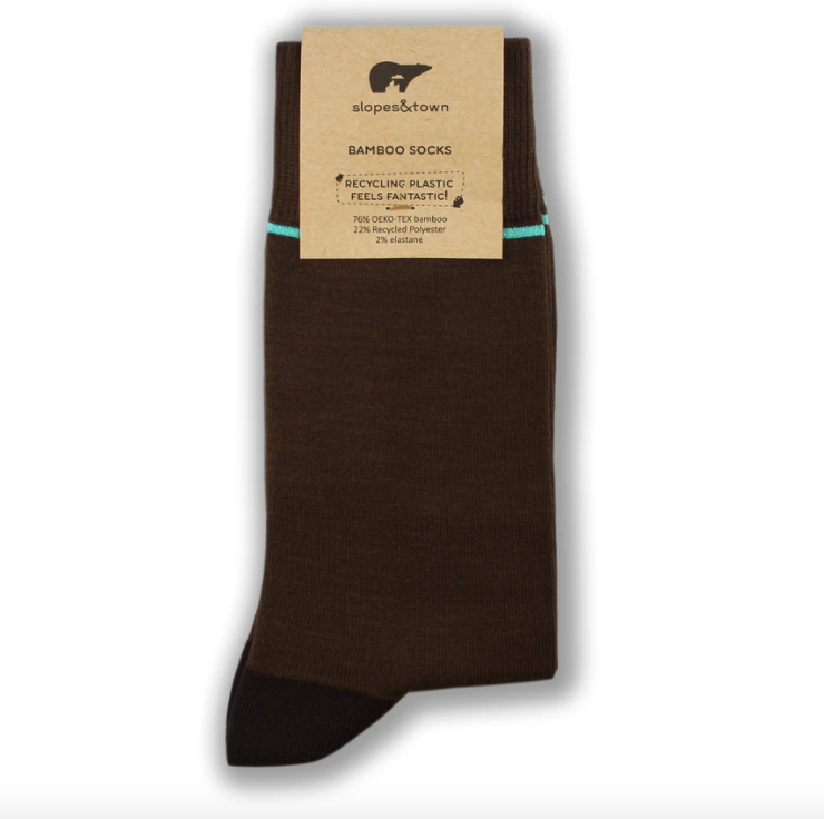 Brown Blue stripe Bamboo socks